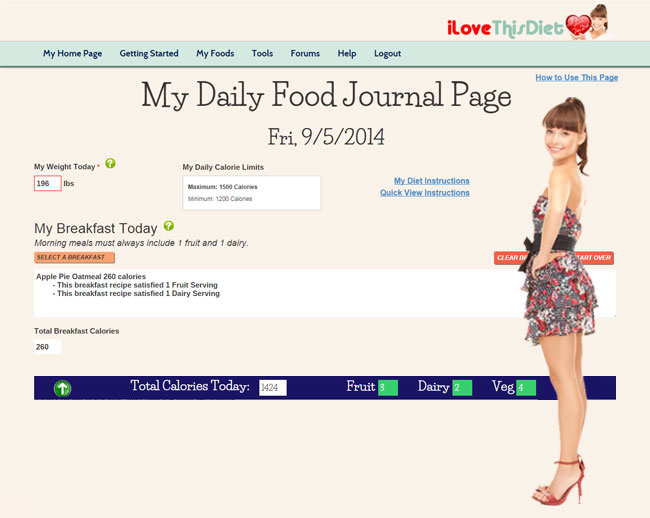 Your Daily Food Journal guides you through the diet and counts your calories for you. Select all approved foods with a click.
