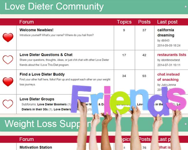 Meet diet buddies and get weight loss support in the Forums