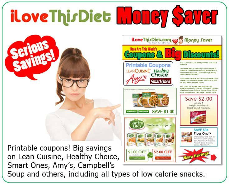 Lose weight on a budget with I Love This Diet Supermarket Coupon page.