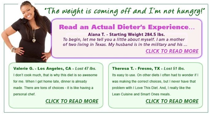 Dieter success story for I Love This Diet.
